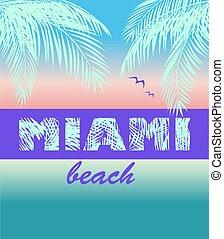 マイアミ, ファッション, 色, 海洋, ワイシャツ, ヤシリーフ, レタリング, t, 印刷, ネオン, 日没, ココナッツ, かもめ, ミント, 浜