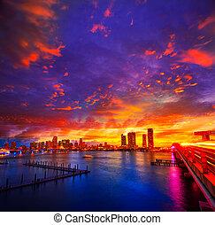 マイアミ, フロリダ, 私達, ダウンタウンに, スカイライン, 日没