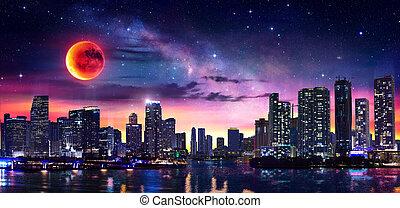 マイアミ, 月, ダウンタウンに, ファンタジー, 風景, 方法, 乳白色, 赤