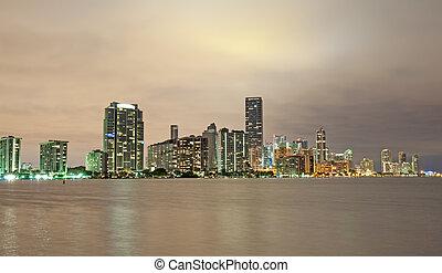 マイアミ, night., スカイライン, フロリダ, アメリカ