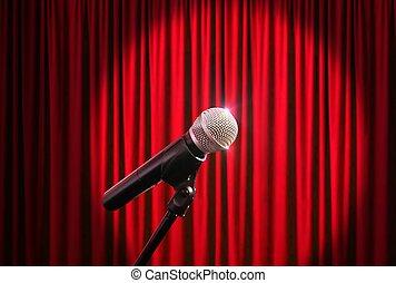マイクロフォン, に対して, 背景, カーテン, 赤, ステージ