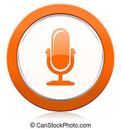 マイクロフォン, オレンジ, アイコン, podcast, 印