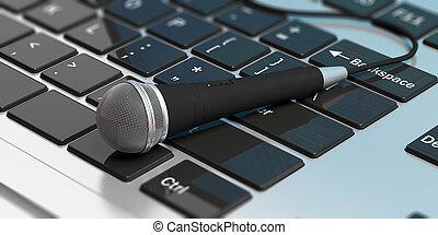 マイクロフォン, コンピュータ, keyboard., イラスト, 3d