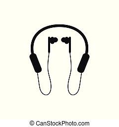 マイクロフォン, シルエット, ヘッドホン, bluetooth, 背景, 白