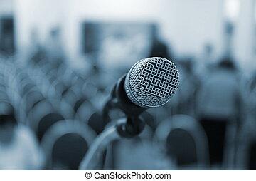 マイクロフォン, ステージ上で, マイクロフォン, 中に, 会議 ホール
