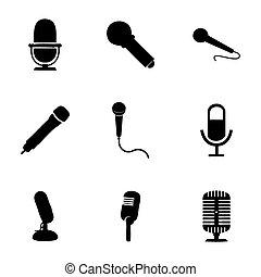 マイクロフォン, ベクトル, セット, アイコン