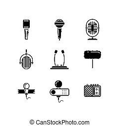 マイクロフォン, ベクトル, 黒, セット, アイコン