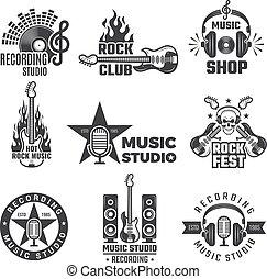 マイクロフォン, レコード, 型, 会社, ヘッドホン, カバー, labels., シンボル, レコード, ベクトル, 音楽, ビニール, 黒, ∥あるいは∥, バッジ, logotypes