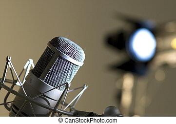 マイクロフォン, 中に, studio.