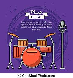 マイクロフォン, 祝祭, ポスター, 紫色, 音楽, 背景, 電池