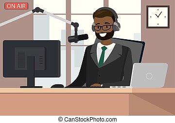 マイクロフォン, 空気, ホスト, 放送, ラジオ, 話す