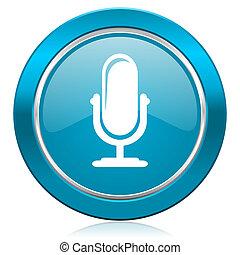 マイクロフォン, 青, アイコン, podcast, 印