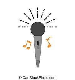 マイクロフォン, 音楽的な ノート, アイコン, 隔離された