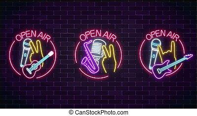 マイクロフォン, frame., ネオン, コレクション, 空気, 生きている, サクソフォーン, ギター, サイン, 音楽, icon., 開いた, ラウンド