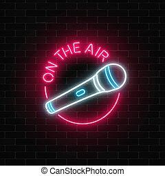 マイクロフォン, frame., ネオン 印, 生の音楽, icon., 空気, ラウンド, ナイトクラブ
