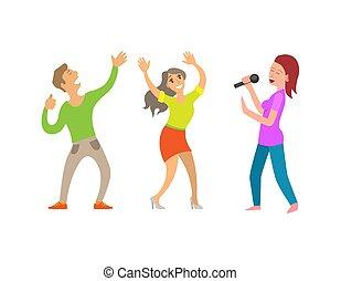マイクロフォン, partying, 人々, 楽しみ, 女性, 持つこと