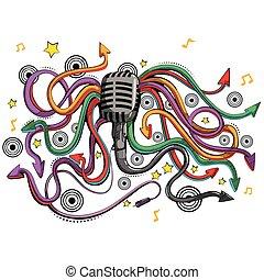 マイクロフォン, swirly, 抽象的, 装置, 音楽, 背景, ミュージカル