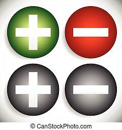 マイナス, セット, 取除きなさい, シンボル, 付け加えなさい, ベクトル, プラス, icons., graphics., サイン, ∥あるいは∥
