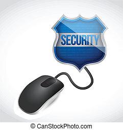 マウス, セキュリティー, 接続される, 保護, 印
