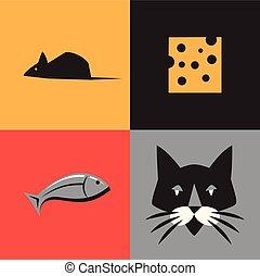 マウス, セット, fish, ねこ, イラスト, ベクトル, チーズ, アイコン