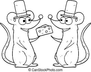 マウス, チーズ, 白, 黒, 漫画