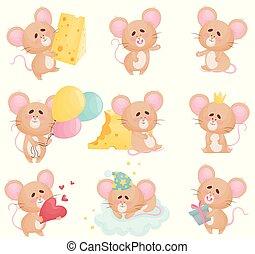 マウス, 別, ベクトル, セット, 漫画, situations., illustration.