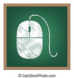 マウス, 印, illustration., 白, チョーク, 効果, 上に, 緑, 学校, board.