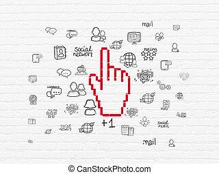 マウス, concept:, 社会, 背景, ネットワーク, カーソル, 壁