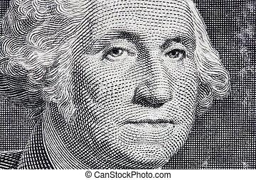 マクロ, の, 1枚の1ドル札