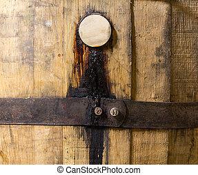 マクロ, 打撃, の, bung, 中に, 木製である, バーボン, 樽