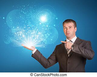 マジック, ビジネス, ライト, 手, 把握, 人