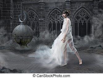 マジック, 女 シルエット, 景色, 煙が多い, mystery., 古代, 神秘主義者, 古い, castle.