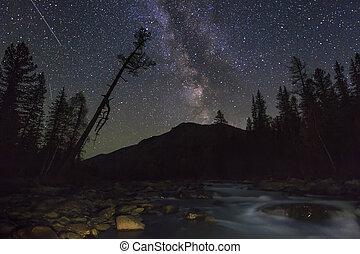マジック, 星が多い, 驚かせること, s, 山, 夜, 川の景色