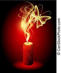 マジック, 燃焼, 蝶, 煙, 神秘的, ろうそく, 妖精