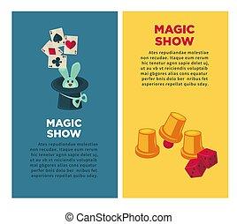 マジック, 縦, ショー, トリック, 装置, うさぎ, ポスター
