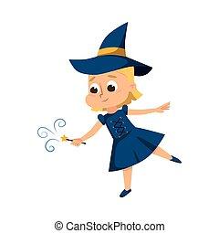 マジック, 魔女妖術, 女の子, 青, 漫画, ベクトル, スタイル, イラスト, 保有物, 身に着けていること, 魔女, 細い棒, かわいい, 帽子, 服, 練習する, わずかしか