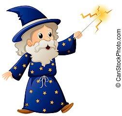 マジック, 魔法使い, 古い, 細い棒