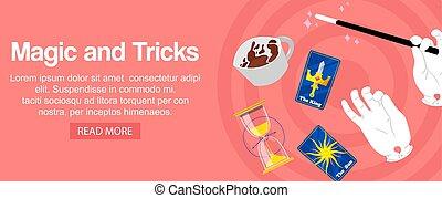 マジック, illustration., カップ, カード, バラ, トリック, サーカス, 魔法, 細い棒, clocks, バックグラウンド。, 砂, ベクトル, 手を持つ, 手品師, 旗, 錯覚