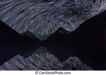 マジック, sky., 凍らせられた, 星が多い, 湖, 驚かせること, 山, 夜, 風景