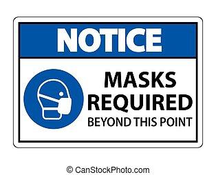 マスク, を越えて, ポイント, 隔離しなさい, 印, 背景, 白, これ, required, イラスト, 通知, eps.10