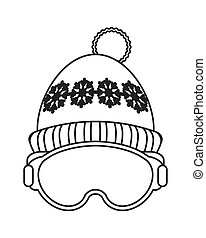 マスク, アイコン, 帽子, スキー