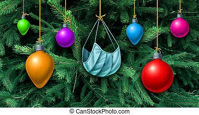 マスク, クリスマスツリー, 顔