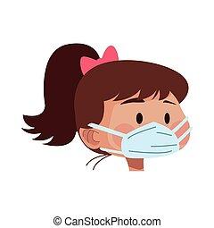 マスク, 使うこと, 医学, 女, 頭, 若い