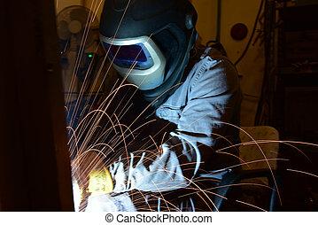 マスク, 保護である, 金属の 労働者, 火花, 溶接