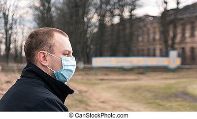 マスク, 医学の 人, 保護である, 青