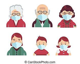 マスク, 医学, covid-19., ベクトル, 人々, 保護である, 家族, avatars, 身に着けていること...