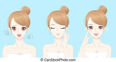 マスク, 問題, 女性の目