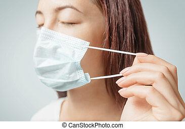 マスク, 女, 投げ, 医学, 保護である, に対して, 伝染, 美顔術, diseases., 空気