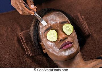 マスク, 女, 適用, 美顔術, エステ