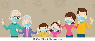 マスク, 旗, 大きい, コピー, 家族, 外科, 身に着けていること, スペース, 妨げなさい, covid-19, ウイルス